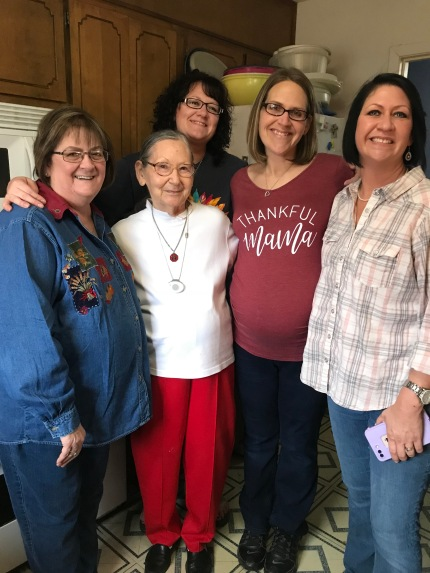 Mom, Grandma, me, and my sisters